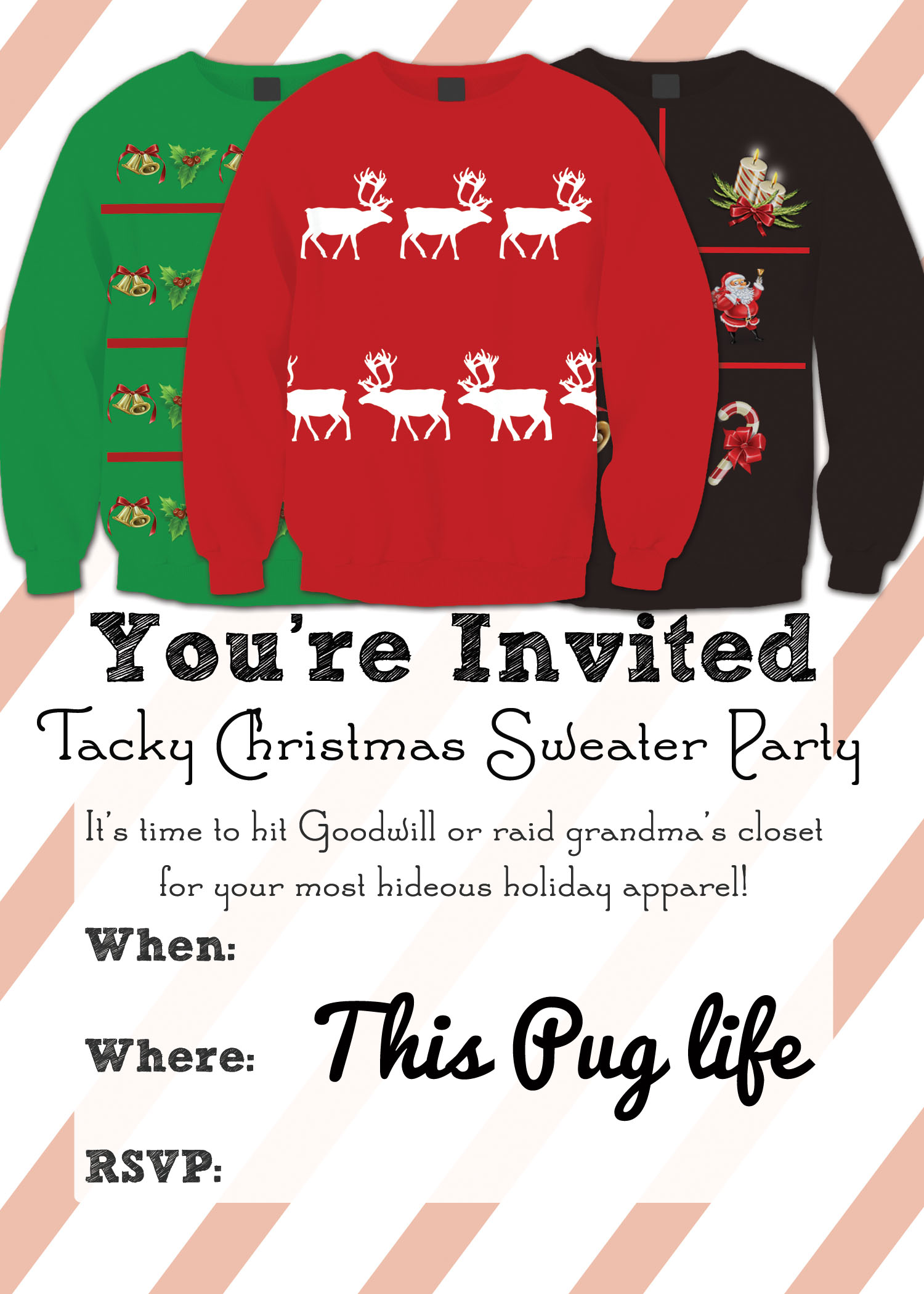 Ugly Christmas Sweater Party Invite.Tacky Christmas Sweater Party Invitations Free Printable