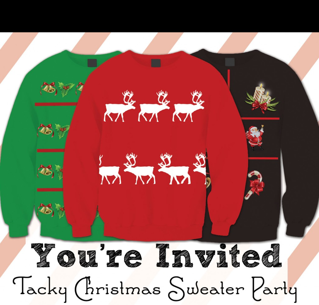 Tacky Christmas Sweater Party Invitations Free Printable This