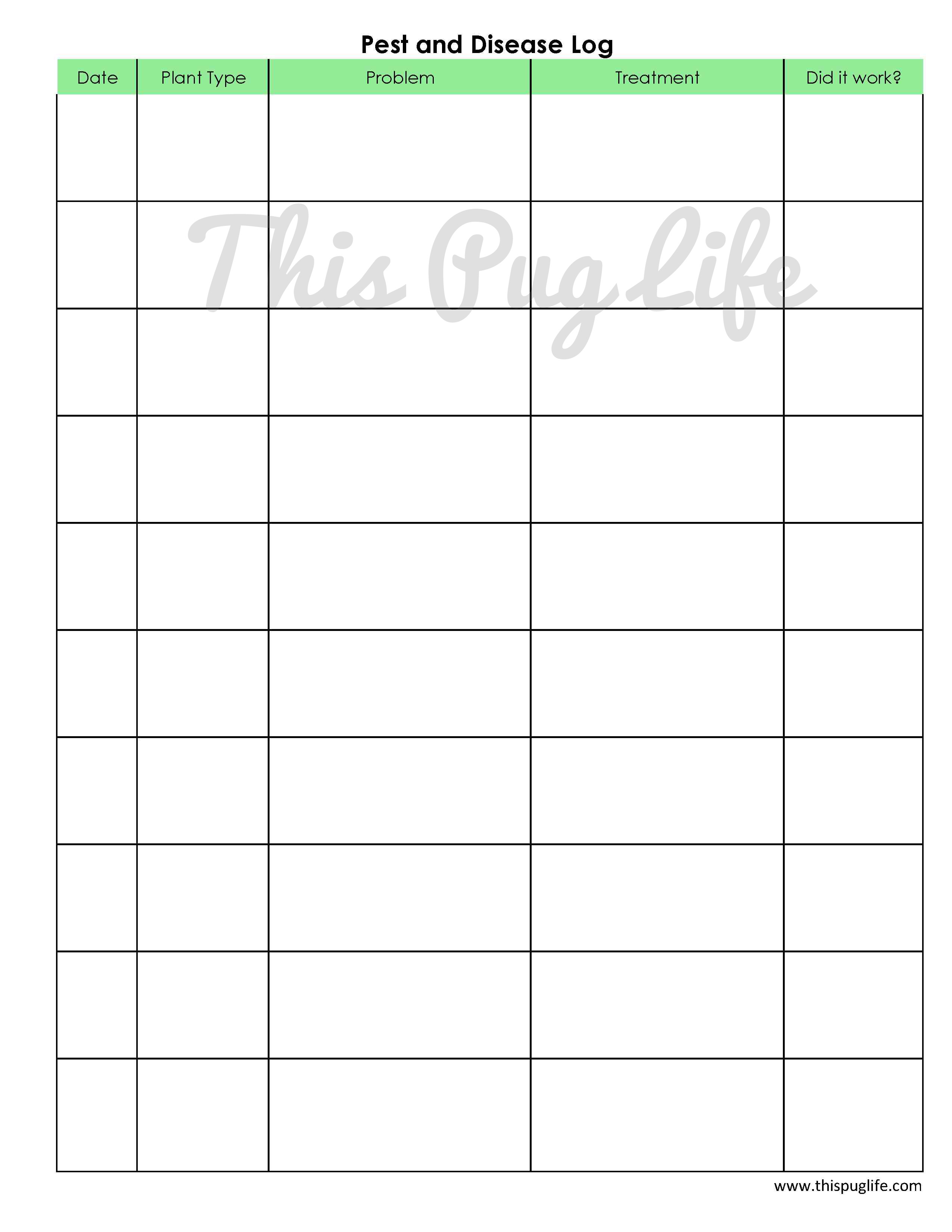 Garden Journal Printables Pest and Disease Log This Pug