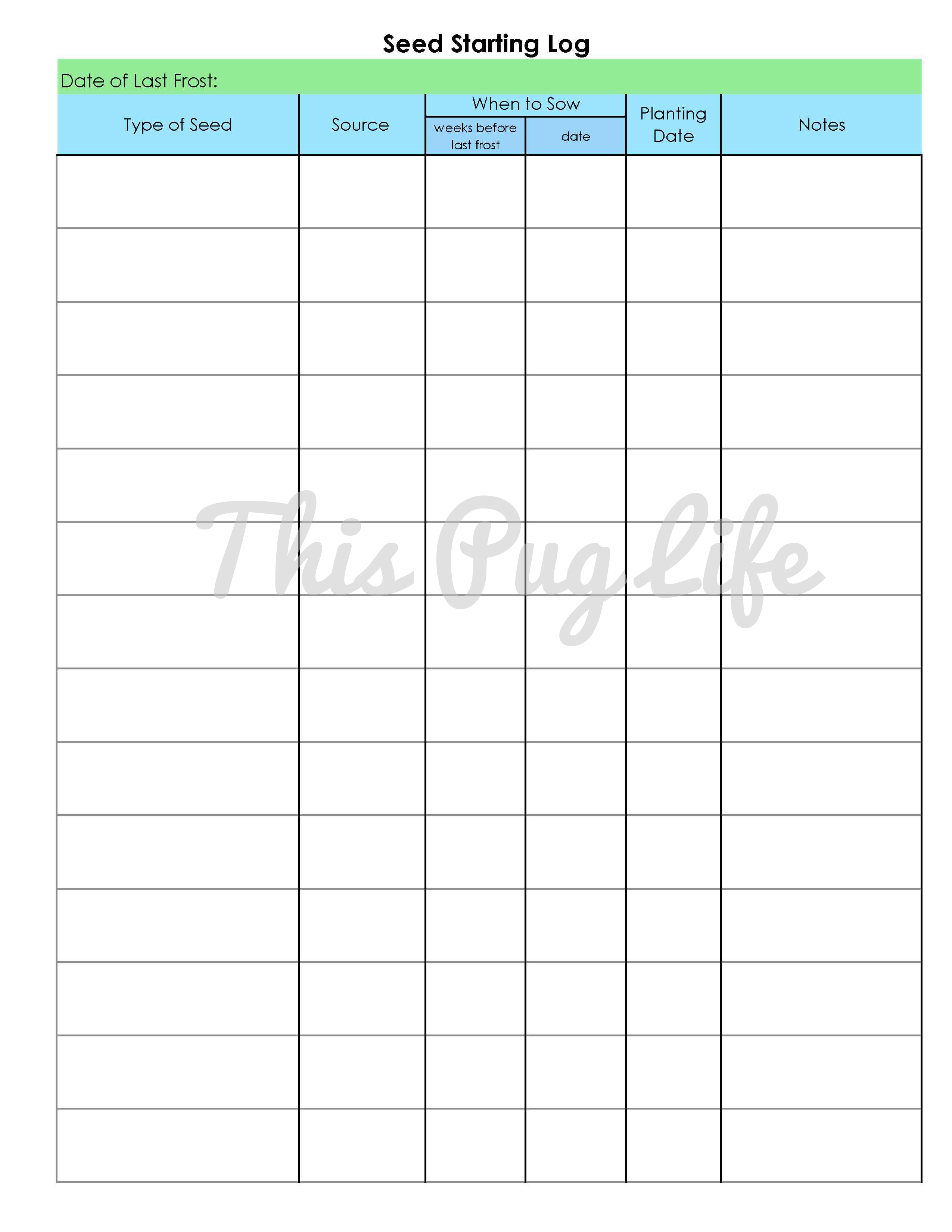 image relating to Printable Garden Journal referred to as Back garden Magazine Printables: Seed Setting up Log This Pug Lifetime