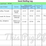 Garden Journal Printables: Seed Starting Log