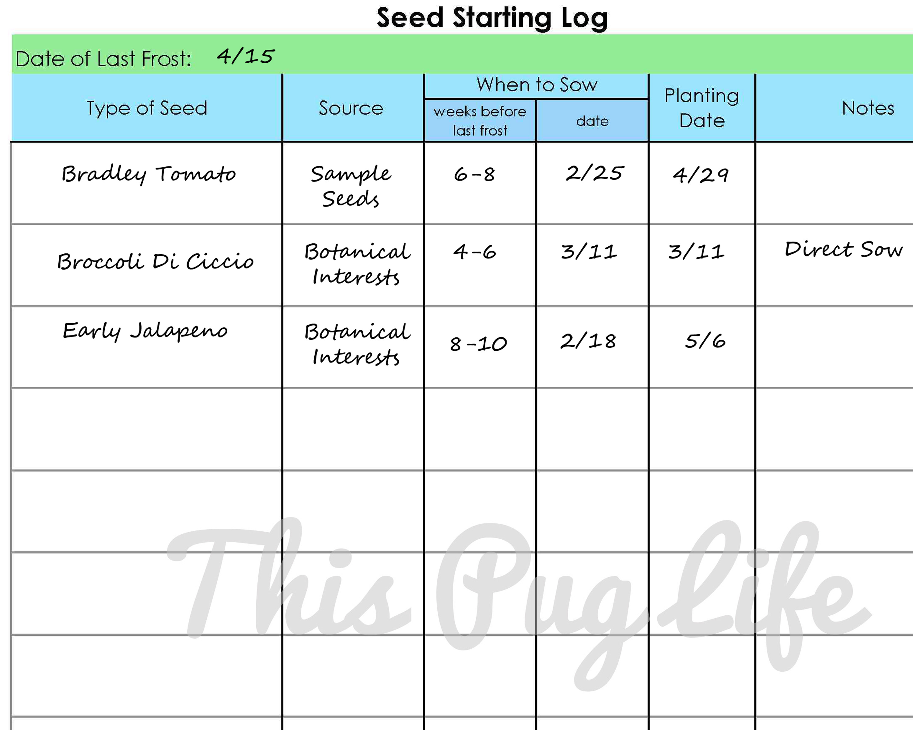 Garden Journal Printables Seed Starting Log This Pug Life