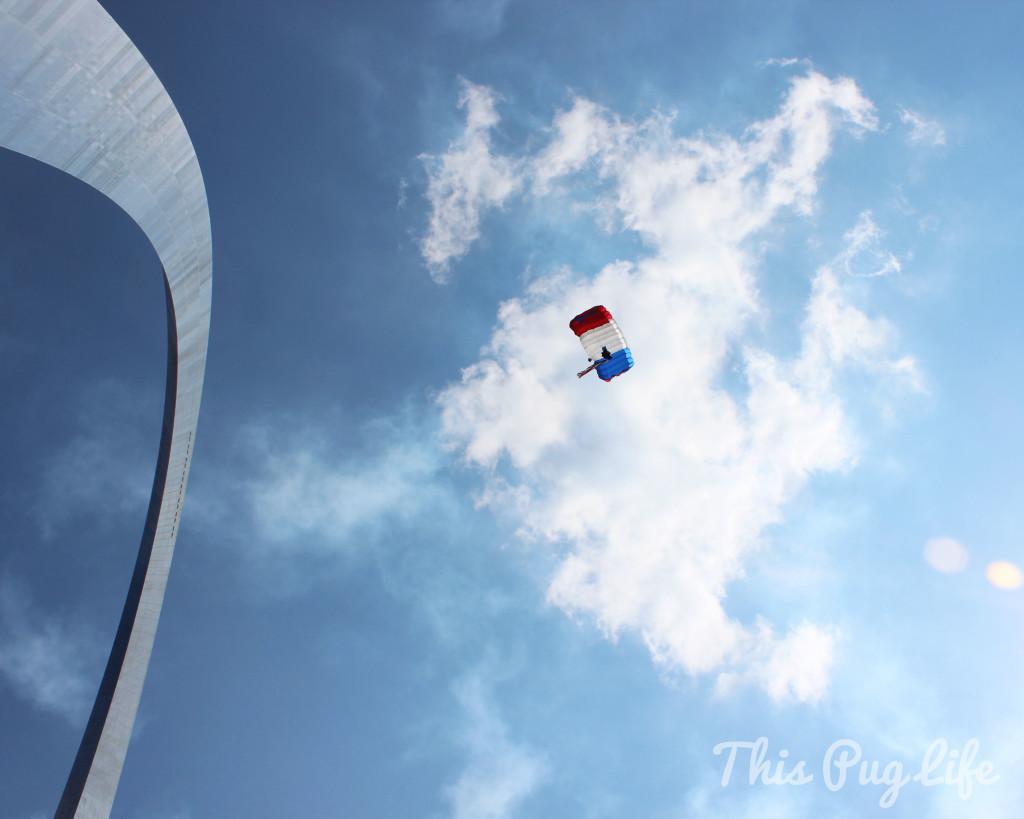 parachuting through St. Louis arch