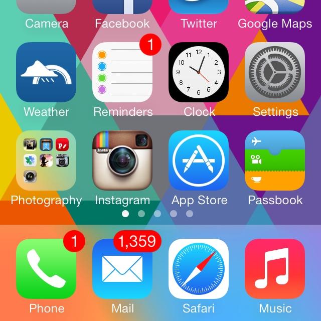 unread emails ios7