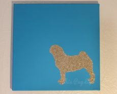 Glitter Pug Silhouette Art