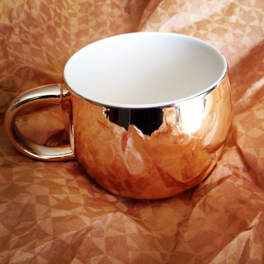 gold starbucks mug