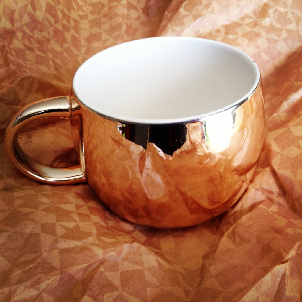 gold starbucks mug