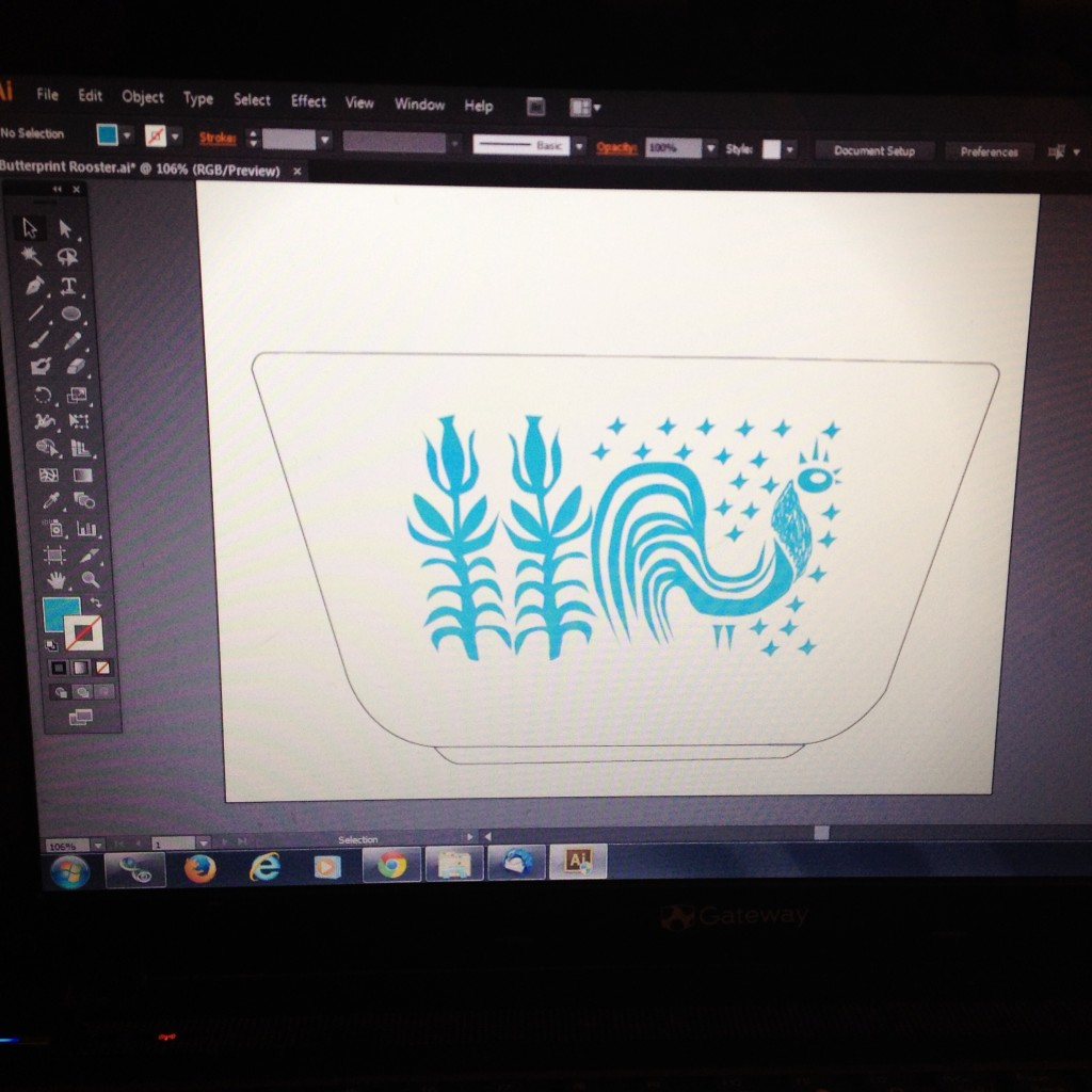 Pyrex Butterprint Digital Art