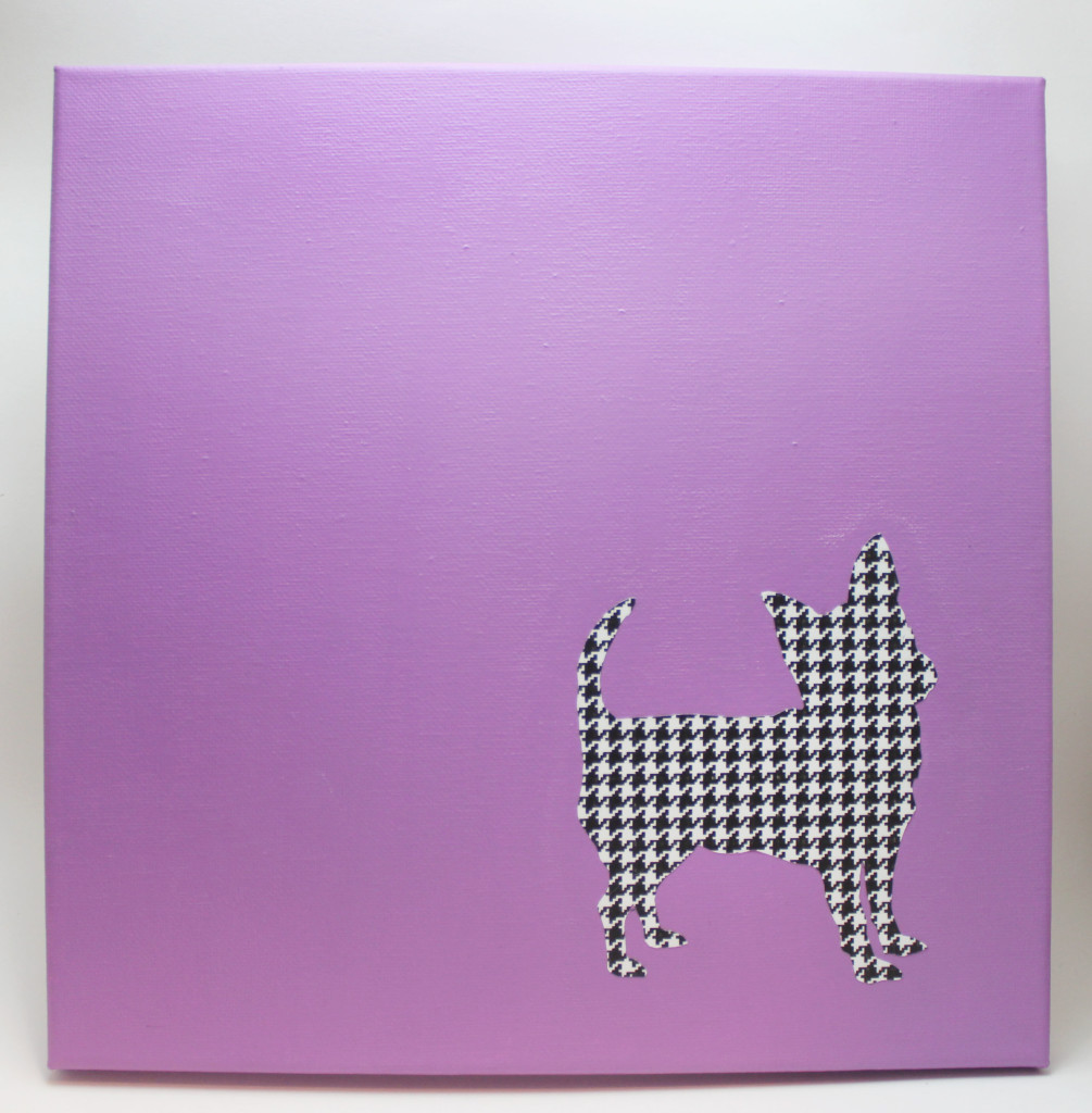 orchid houndstooth chihuahua silhouette