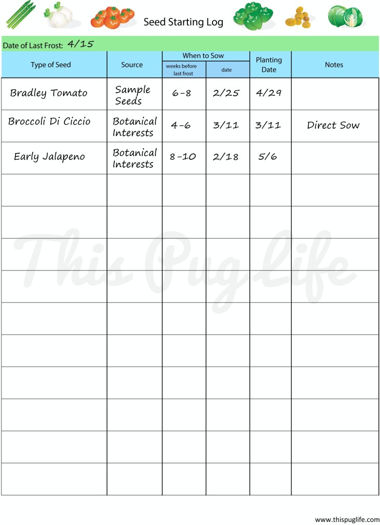 Free Printable Seed Starting Log for Garden Journals