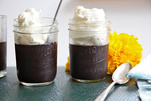 ... dark Midnight Black Chocolate Pudding jars by the lovely Joy the Baker