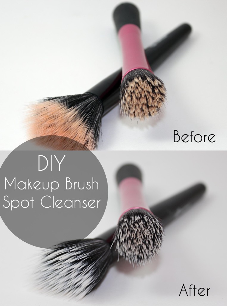 DIY Makeup Brush Spot Cleanser Before and After