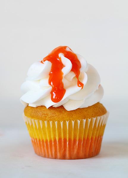 Candy Corn Glaze Cupcakes