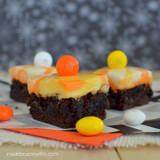 Candy Corn M&M Fudge Brownies