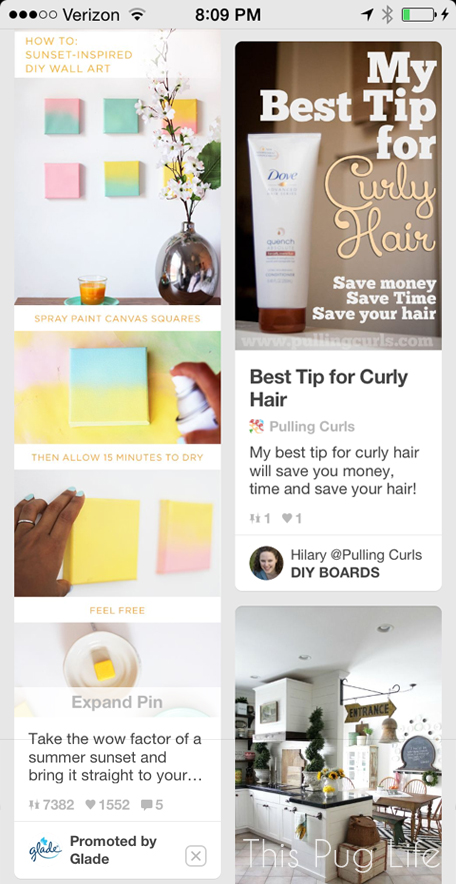 Pinterest Promoted Pin on iPhone