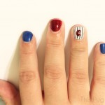Chicago Cubs Pinstripe Nails Tutoral