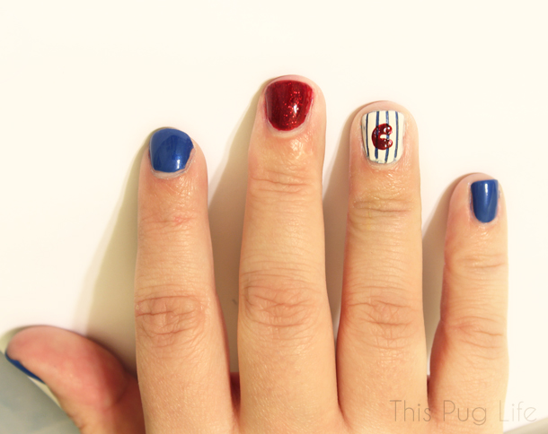 Chicago Cubs Pinstripe Nails Tutoral This Pug Life