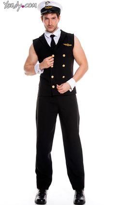 Men's Sexy Pilot Halloween Costume2