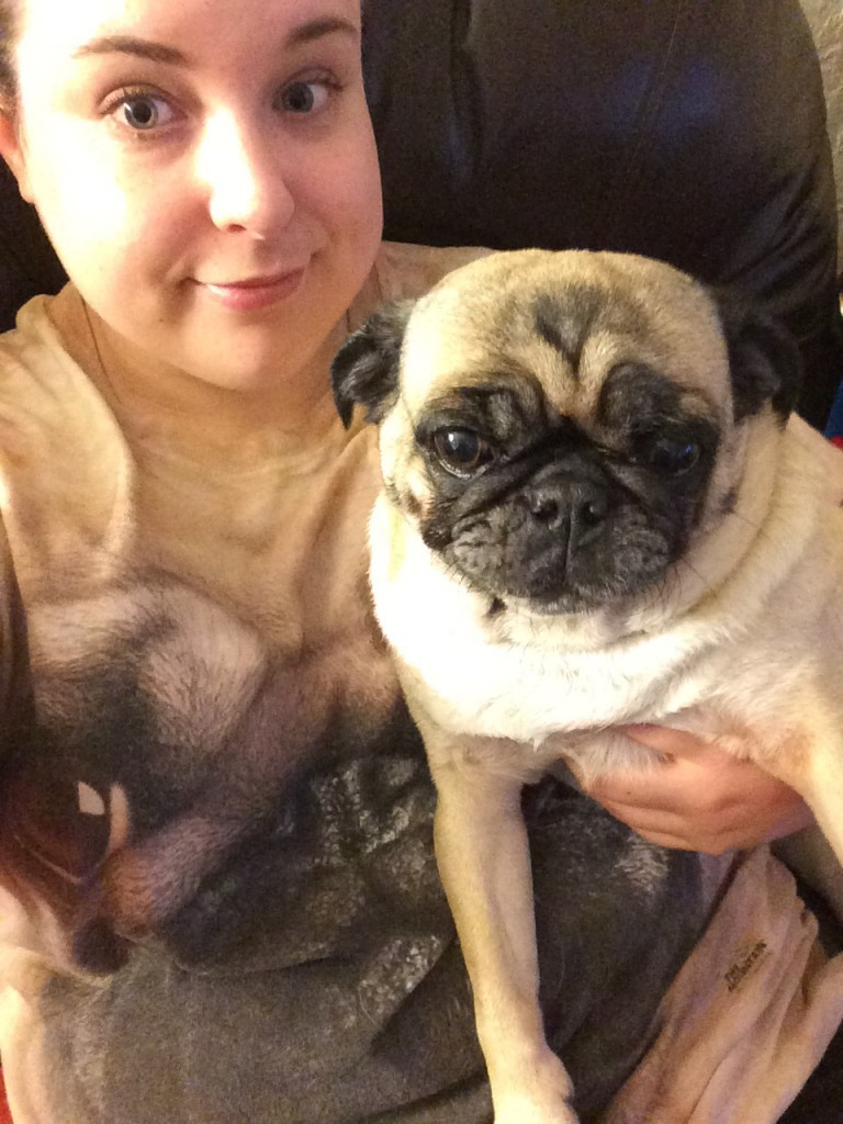 Pug with a pug face shirt