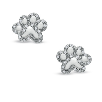 Tender Voices Collection Diamond Paw Print Studs