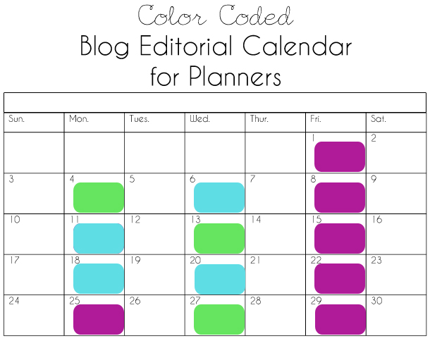 Printable Blog Editorial Calendar for Planner