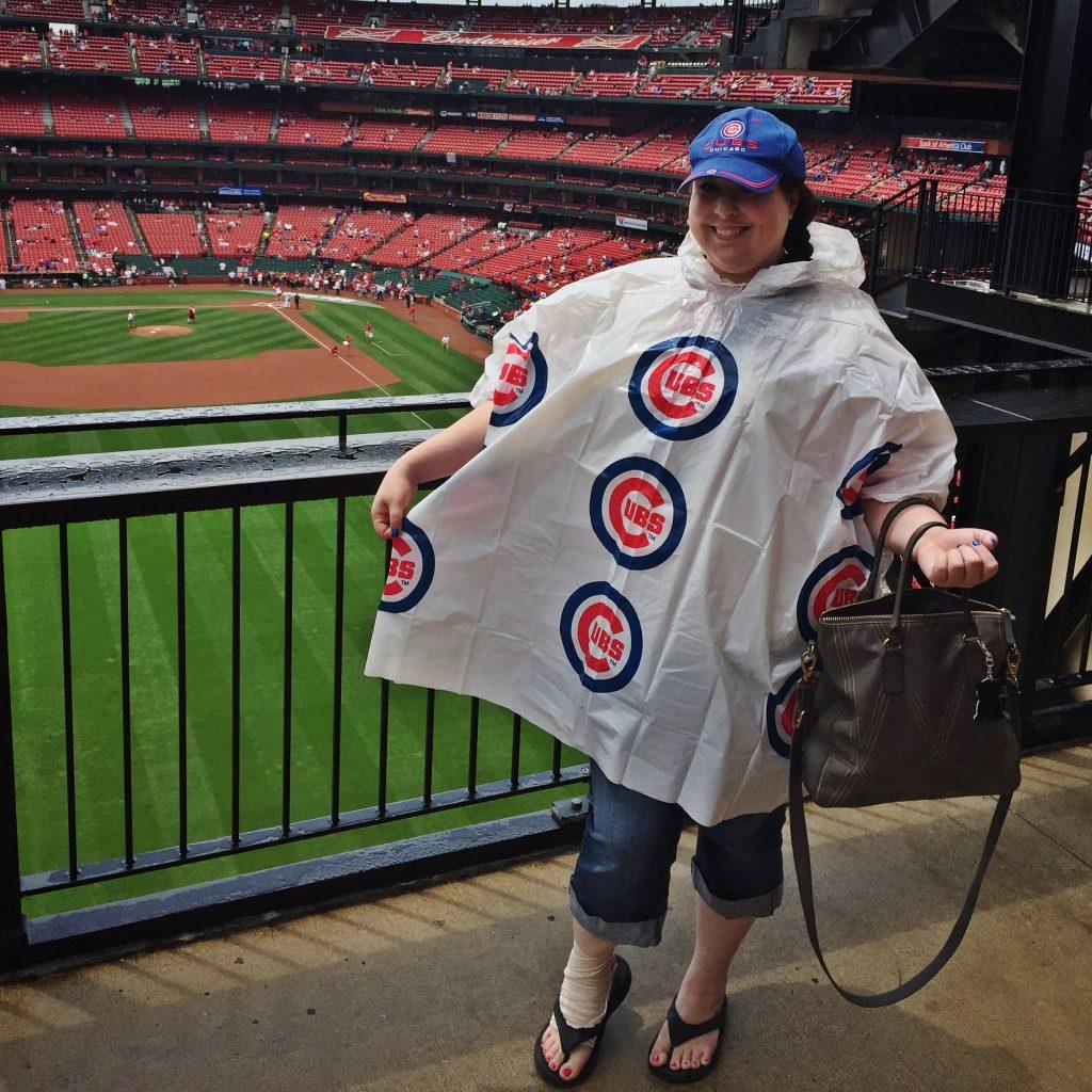 Cubs Rain Poncho at Busch Stadium