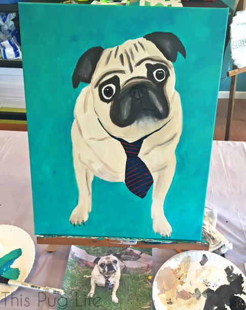 Canvas and Cocktails Pug Painting