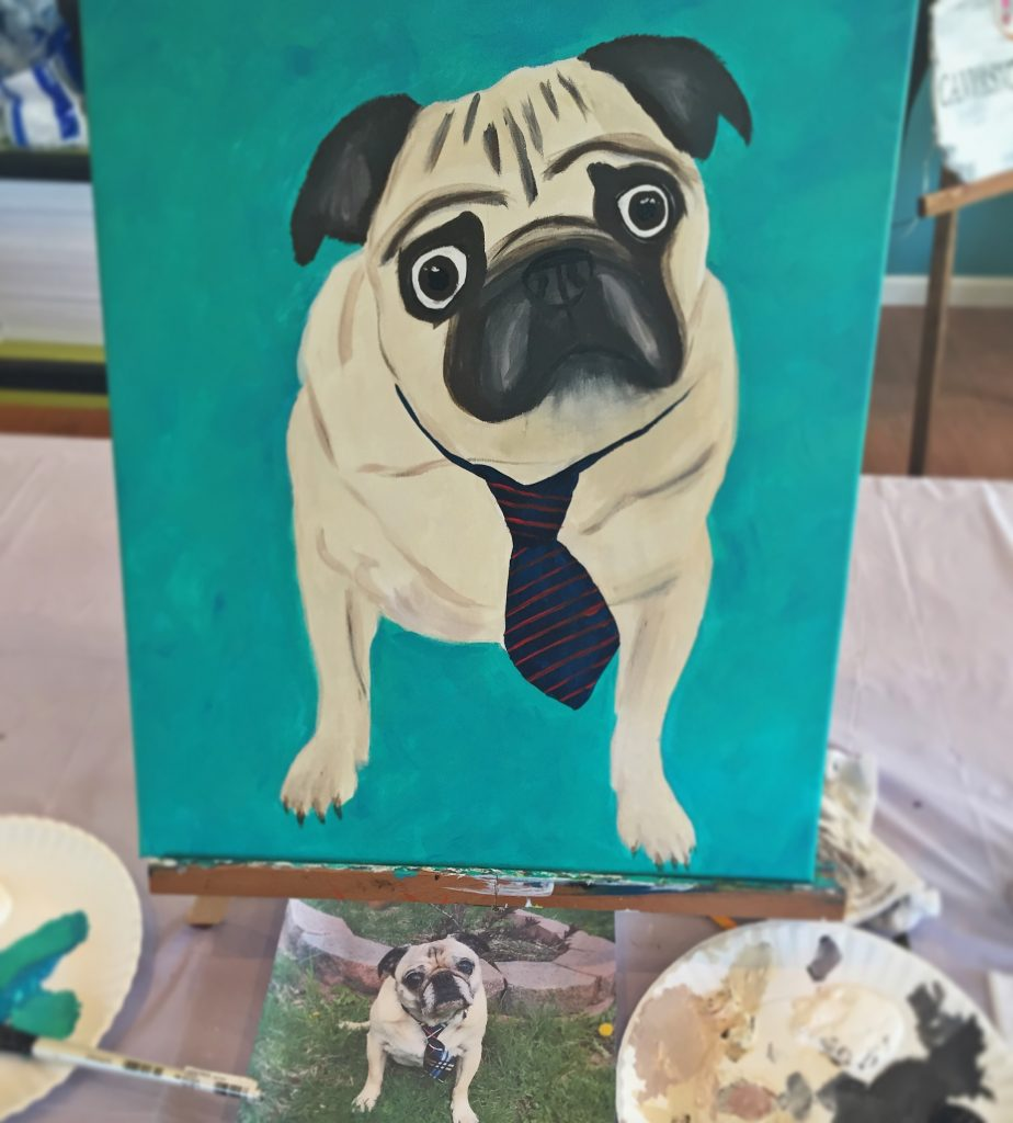 Canvas and Cocktails Paint Your Pet Pug Painting