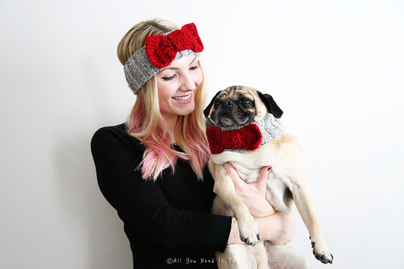 Matching Bow Tie Headband and Dog Collar Set