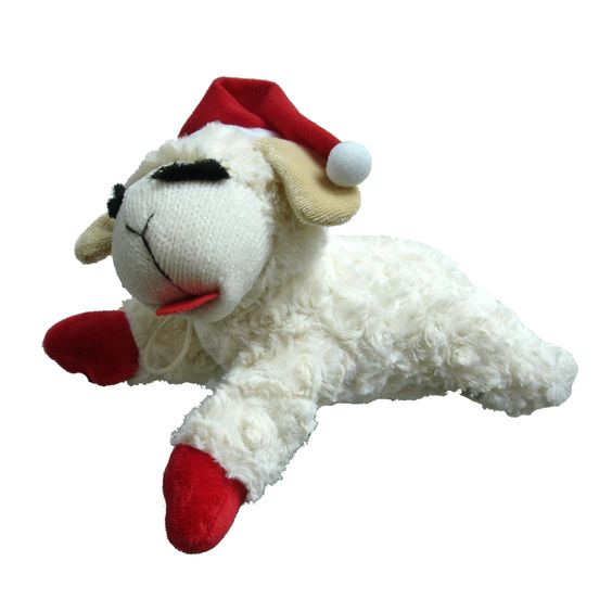 Holiday Lamb Chop plush dog toy