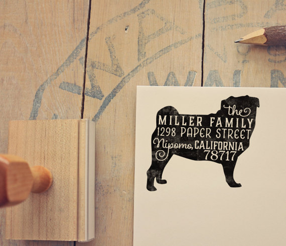 Dog Breed silhouette hand lettered address stamp