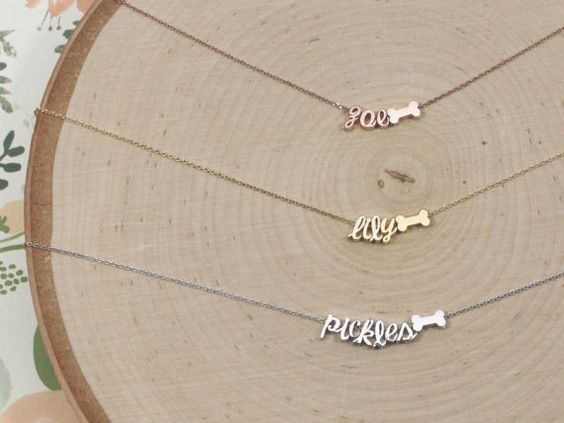 Dog Bone Pet Name Necklace